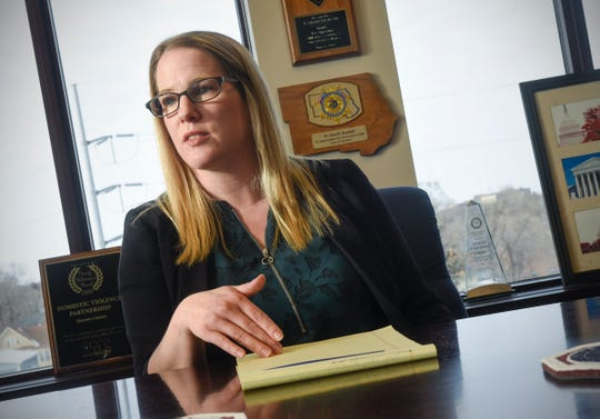 Attorney Meriel Lester talks about the work of the Central Minnesota Human Trafficking Task Force during an interview Thursday, Jan. 17, at the Stearns County Attorney Office in St. Cloud.
