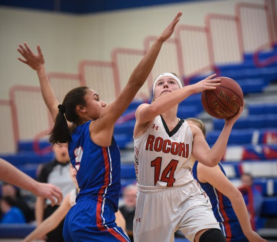 ROCORI's Madison Goebel takes a shot during the Thursday, Jan. 17, game at Apollo High School in St. Cloud.