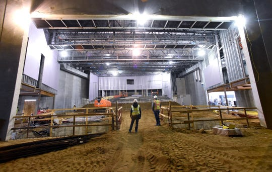 The view from the stage looking out at the seating area in the auditorium during construction Thursday, Jan. 17, at the new Tech High School.