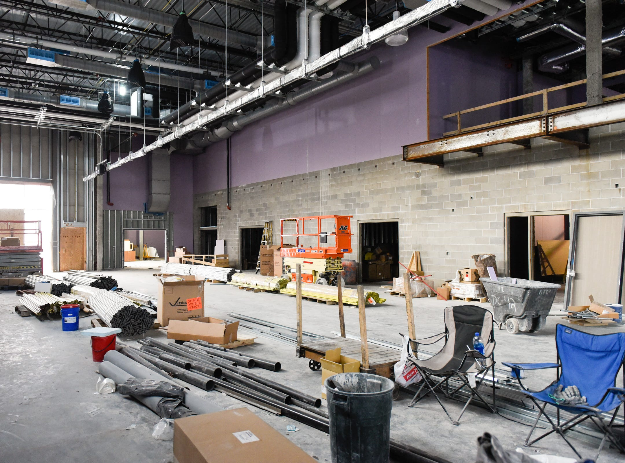 Construction of the career and technical education shops shown Thursday, Jan. 17, at the new Tech High School.