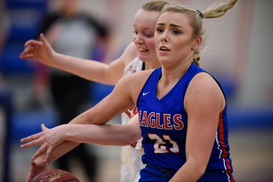 Apollo's Kaleigh Schuck drives toward the basket during the Thursday, Jan. 17, game at Apollo High School in St. Cloud.