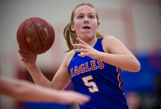 Ashley Koepp drives to the hoop during the Thursday, Jan. 17, game at Apollo High School in St. Cloud.