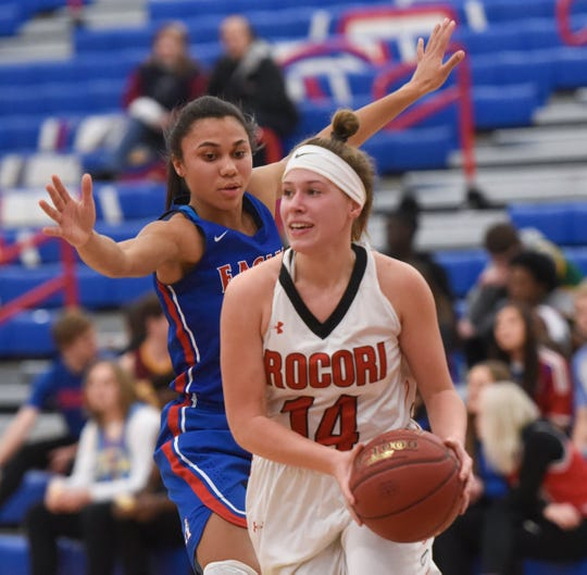 ROCORI's Madison Goebel looks for an open teammate during the Thursday, Jan. 17, game at Apollo High School in St. Cloud.