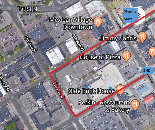 The parade route planned for the St. Patrick's Day Parade that will be held in downtown St. Cloud on March 17, 2019.