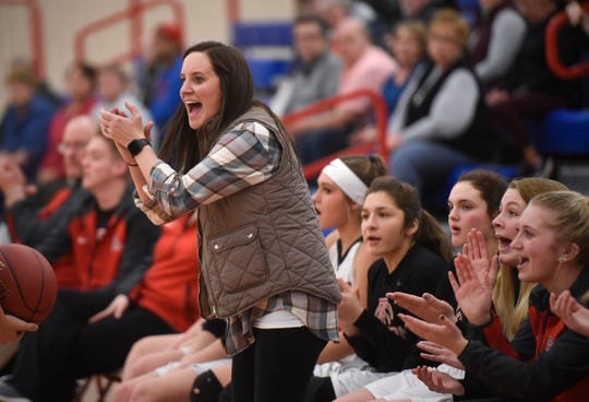 ROCORI coach Valerie Fraley encourages her team during the Thursday, Jan. 17, game at Apollo High School in St. Cloud.