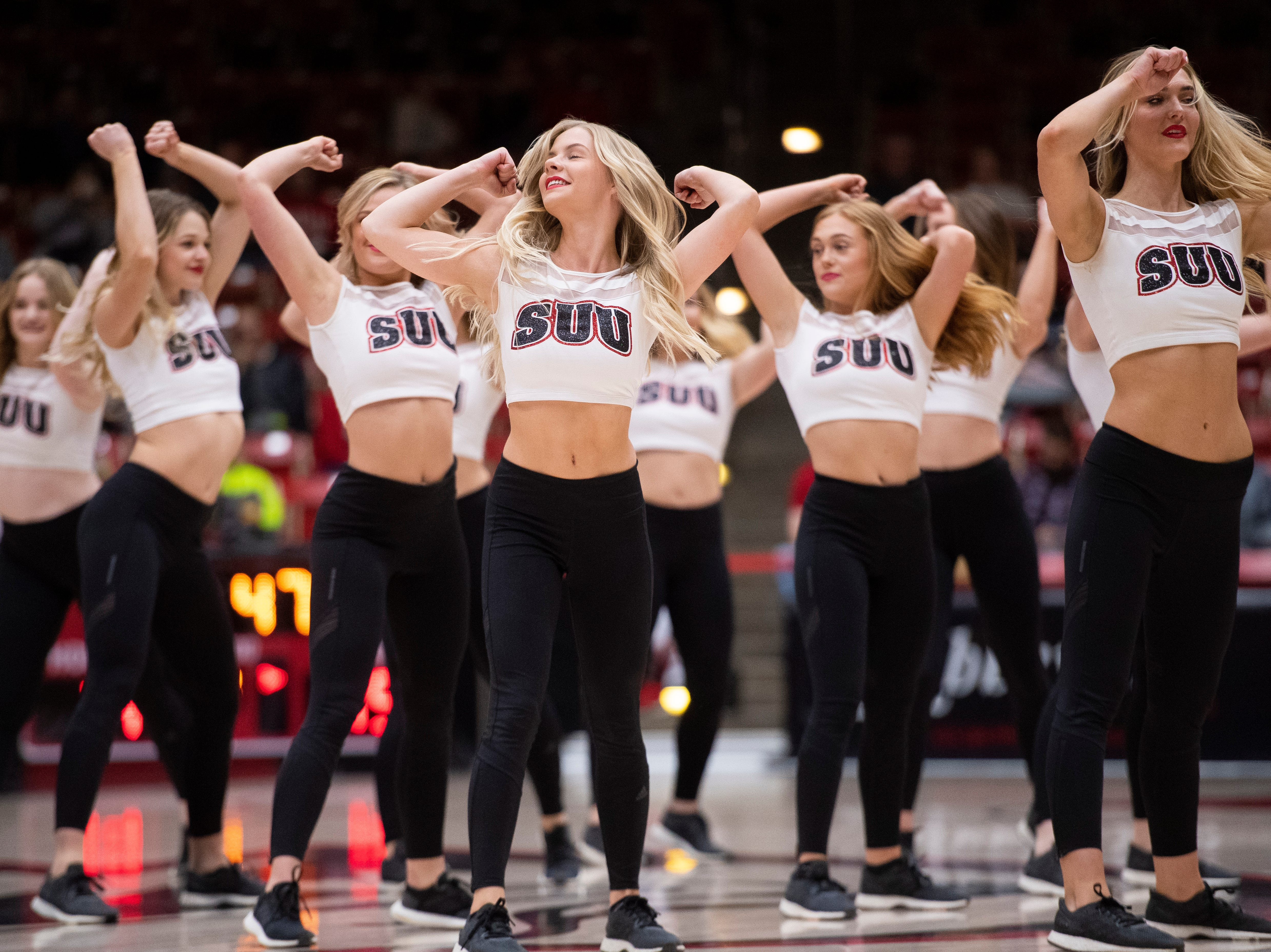 The Southern Utah University dance team performs during halftime in the America First Event Center Thursday, January 17, 2019.