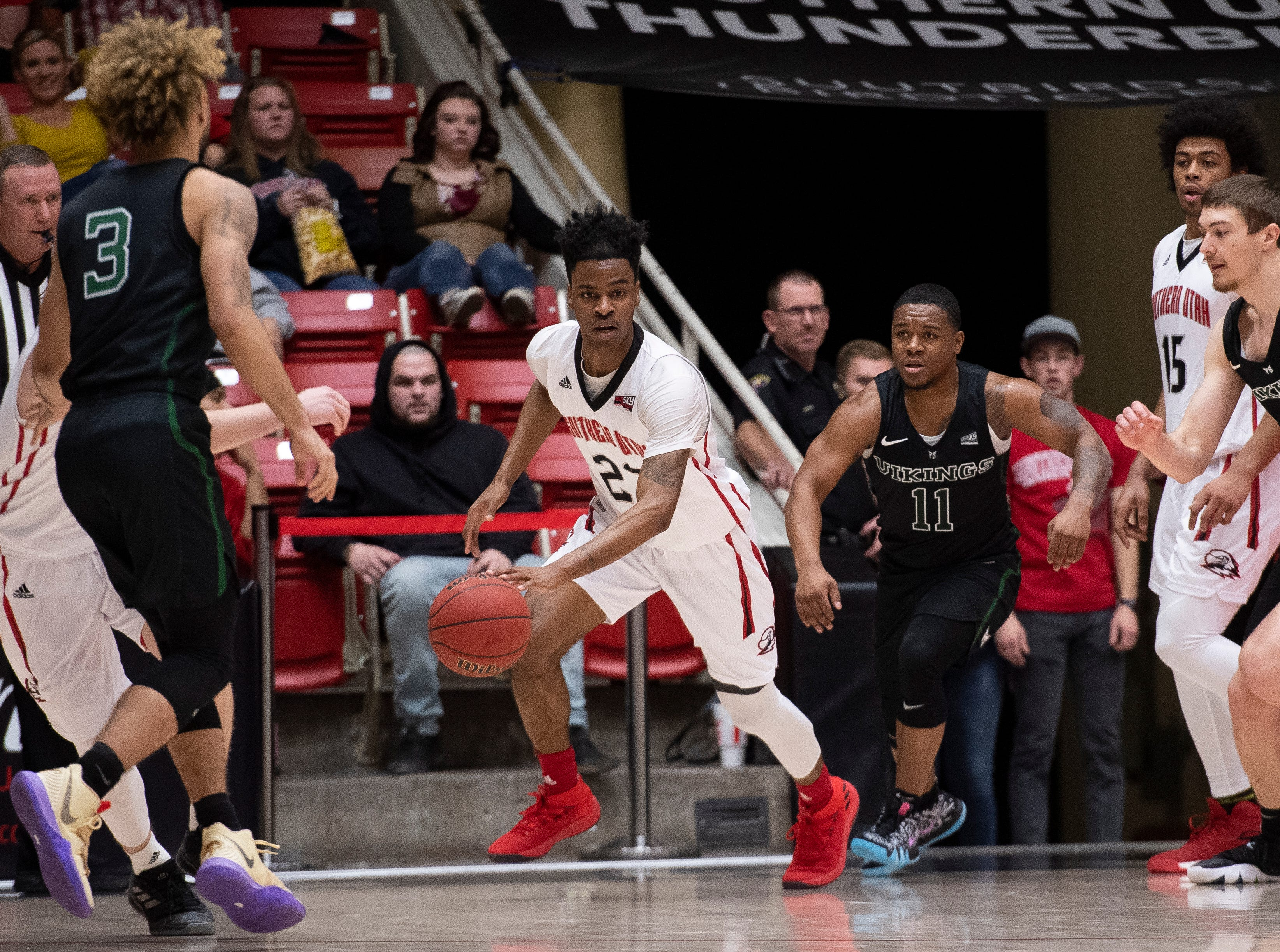 Southern Utah University plays against Portland State in the America First Event Center Thursday, January 17, 2019. SUU won, 83-69.