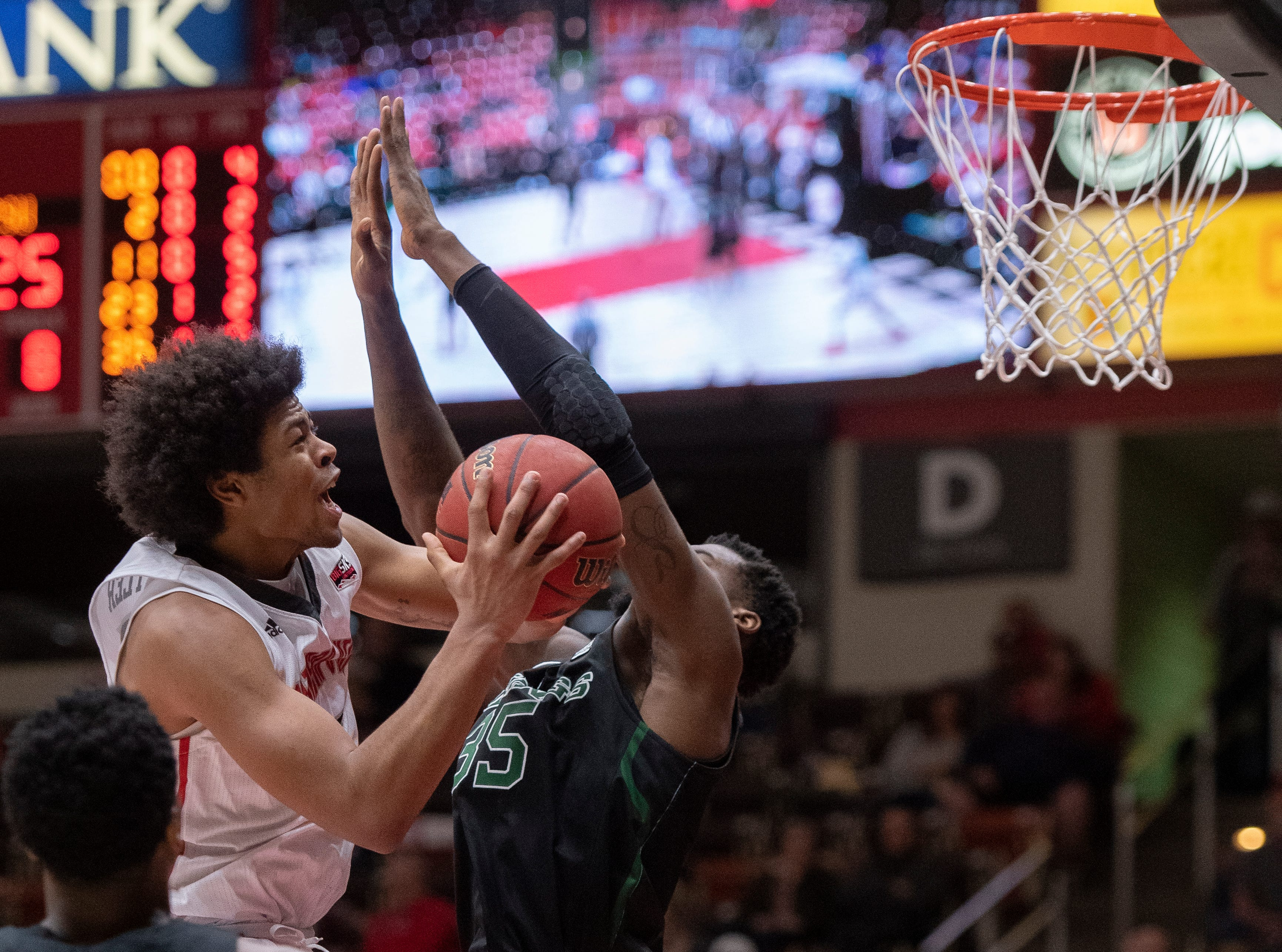 Southern Utah University freshman Harrison Butler (15) takes a shot against Portland State in the America First Event Center Thursday, January 17, 2019. SUU won, 83-69.