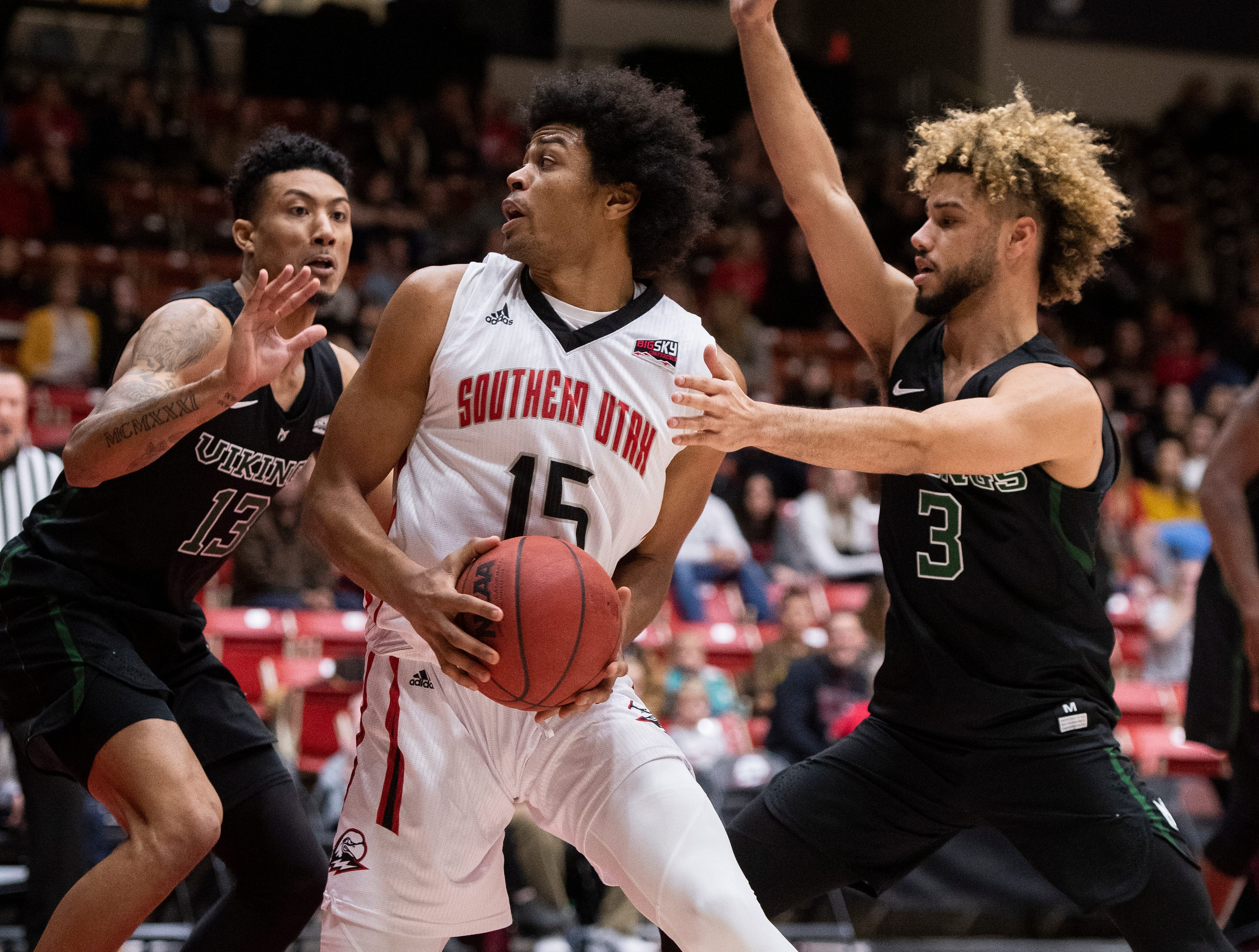 Southern Utah University freshman Harrison Butler (15) looks to the basket against Portland State in the America First Event Center Thursday, January 17, 2019. SUU won, 83-69.