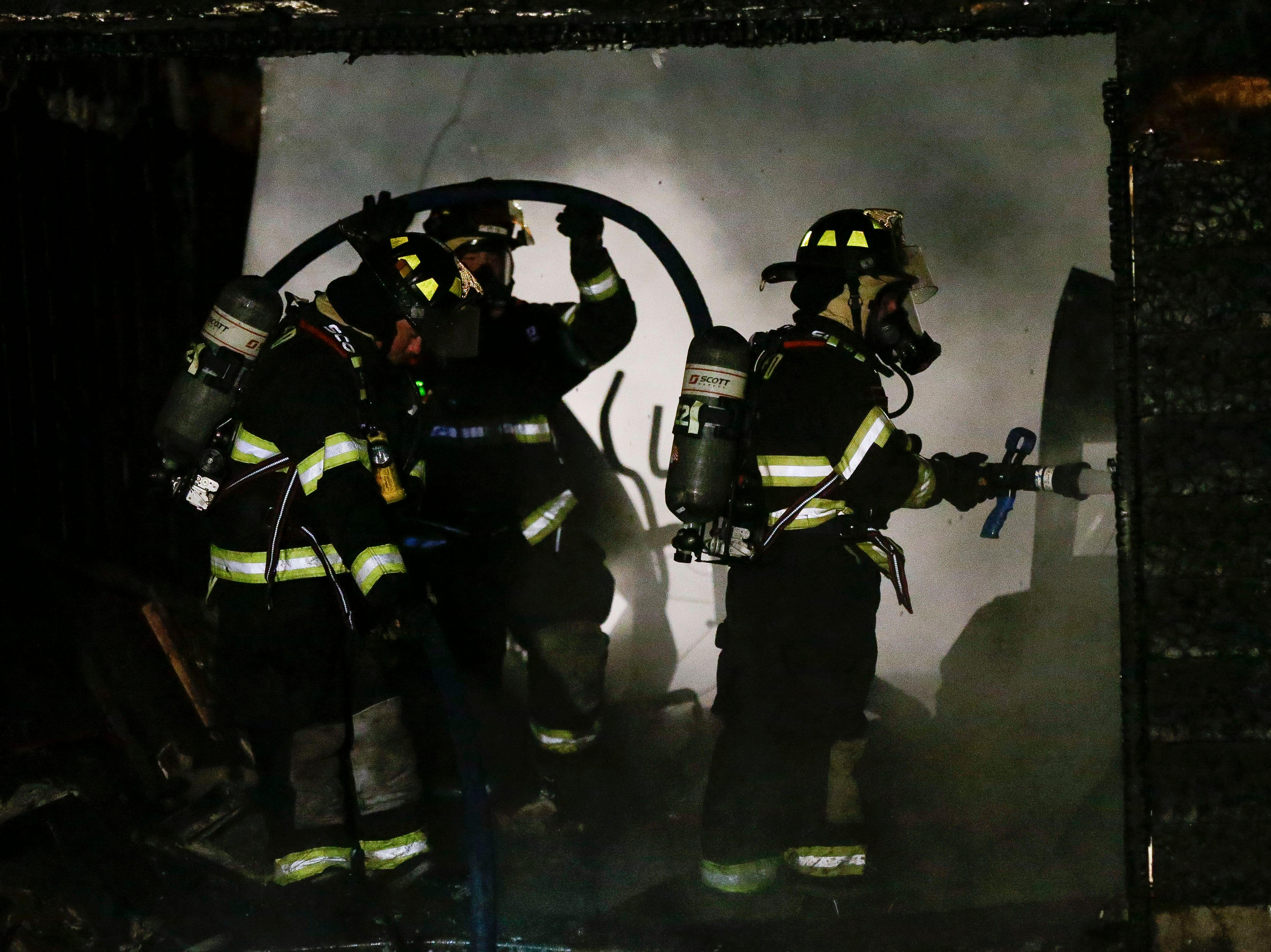 Fire crews work to put out a fire on Thursday, January 17, 2019, at 1235 Meehan Ave. off Highway 54 outside Plover, Wis. Tork Mason/USA TODAY NETWORK-Wisconsin