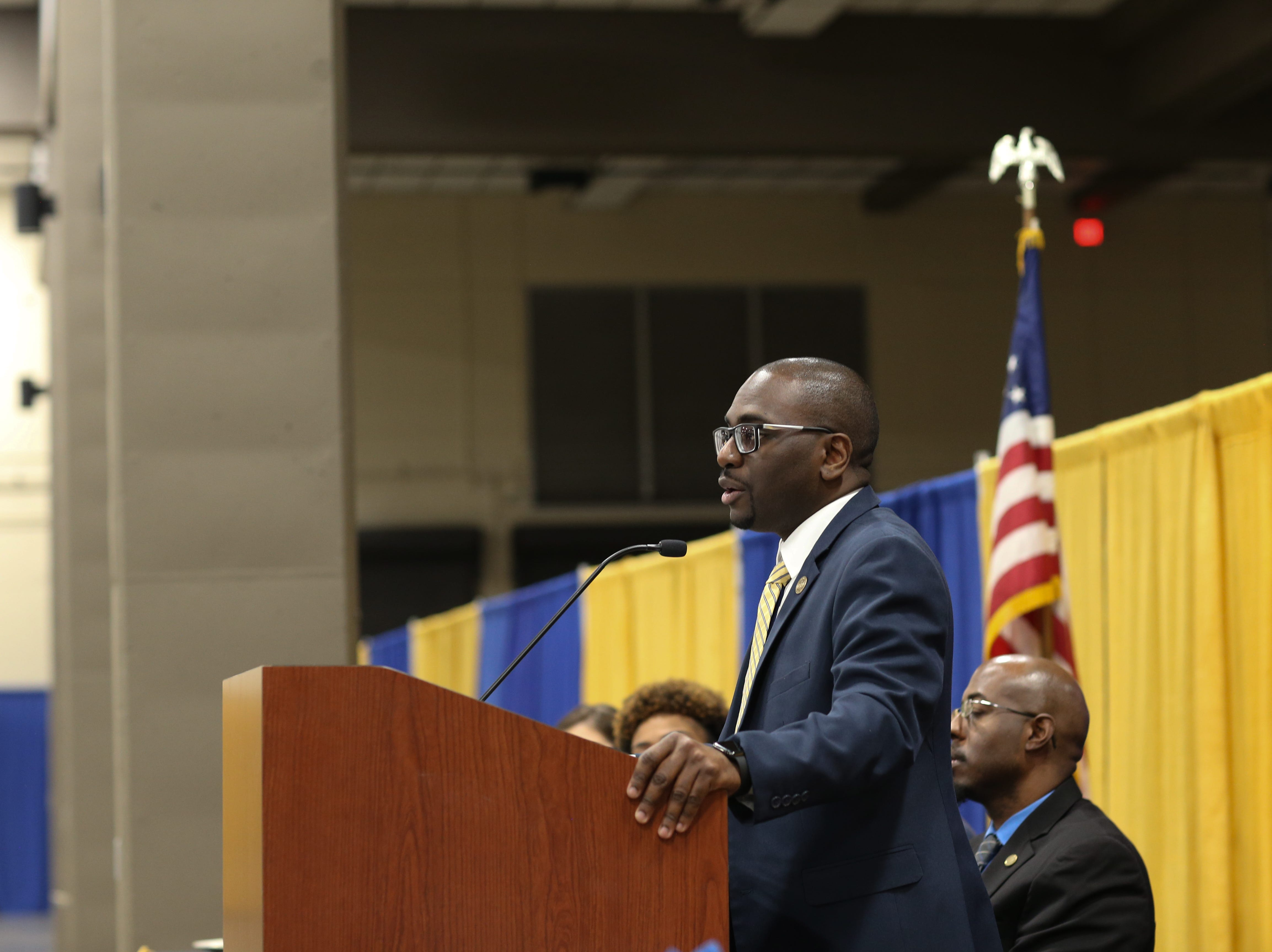President of the Tallahassee branch of the NAACP Adner Marcelin gives closing remarks during the Martin Luther King Jr. commemorative breakfast at Donald L. Tucker Civic Center Friday, Jan. 18, 2019.