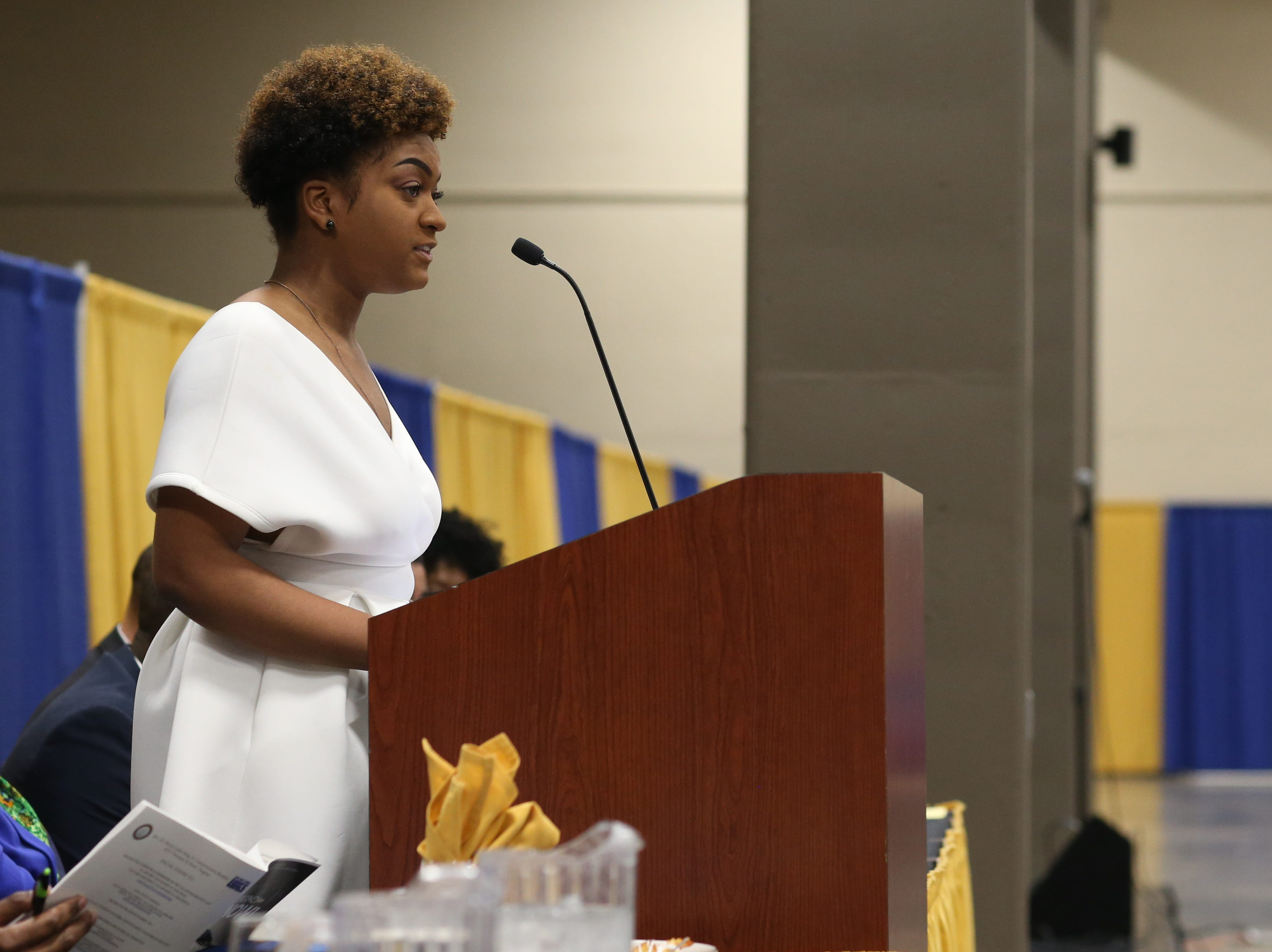 Florida State University NAACP Chapter President Nastassia Janvier speaks during the Martin Luther King Jr. commemorative breakfast Friday, Jan. 18, 2019.