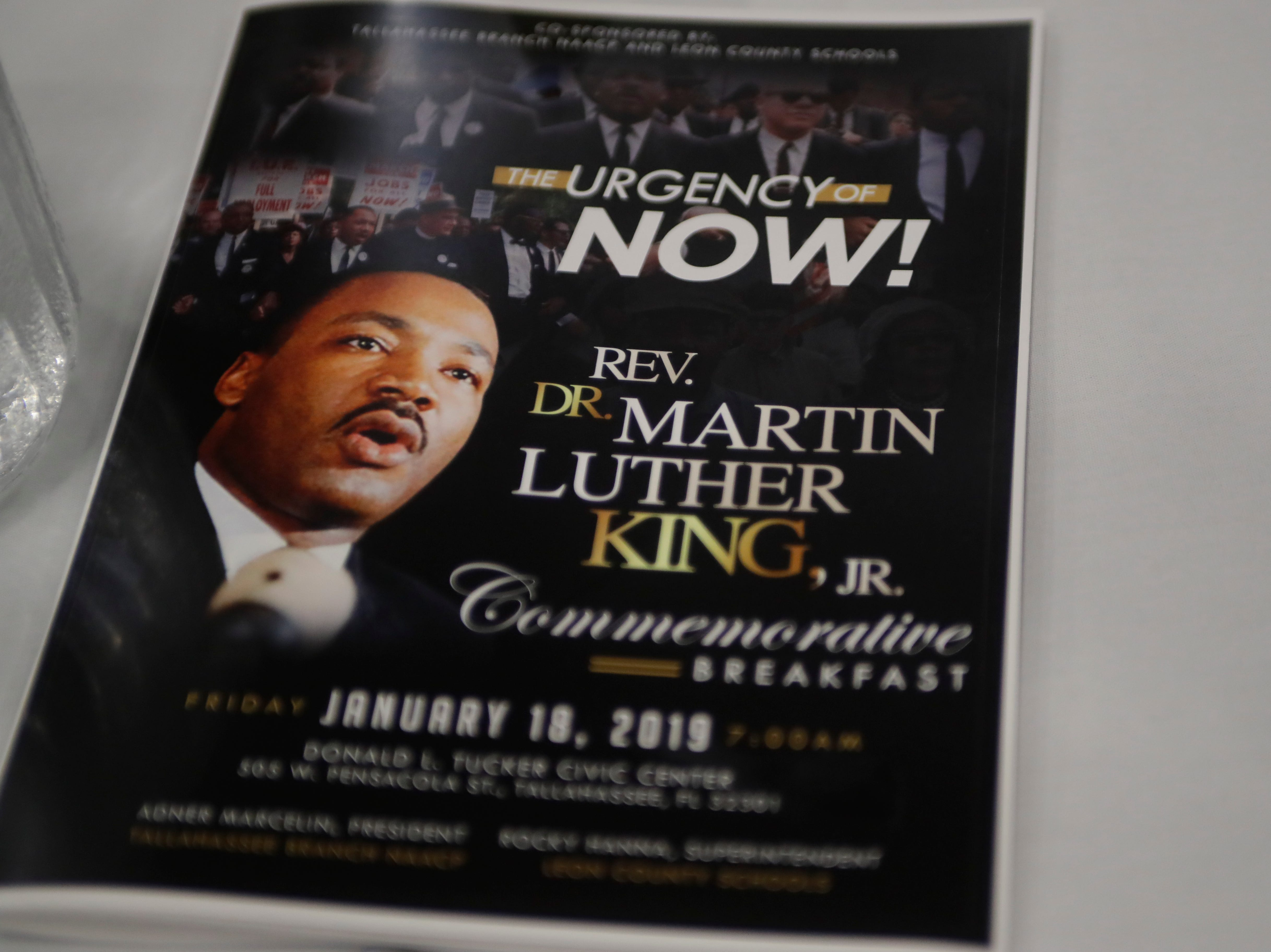 "The theme of Tallahassee's Martin Luther King Jr. commemorative breakfast was ""The Urgency of Now!"""
