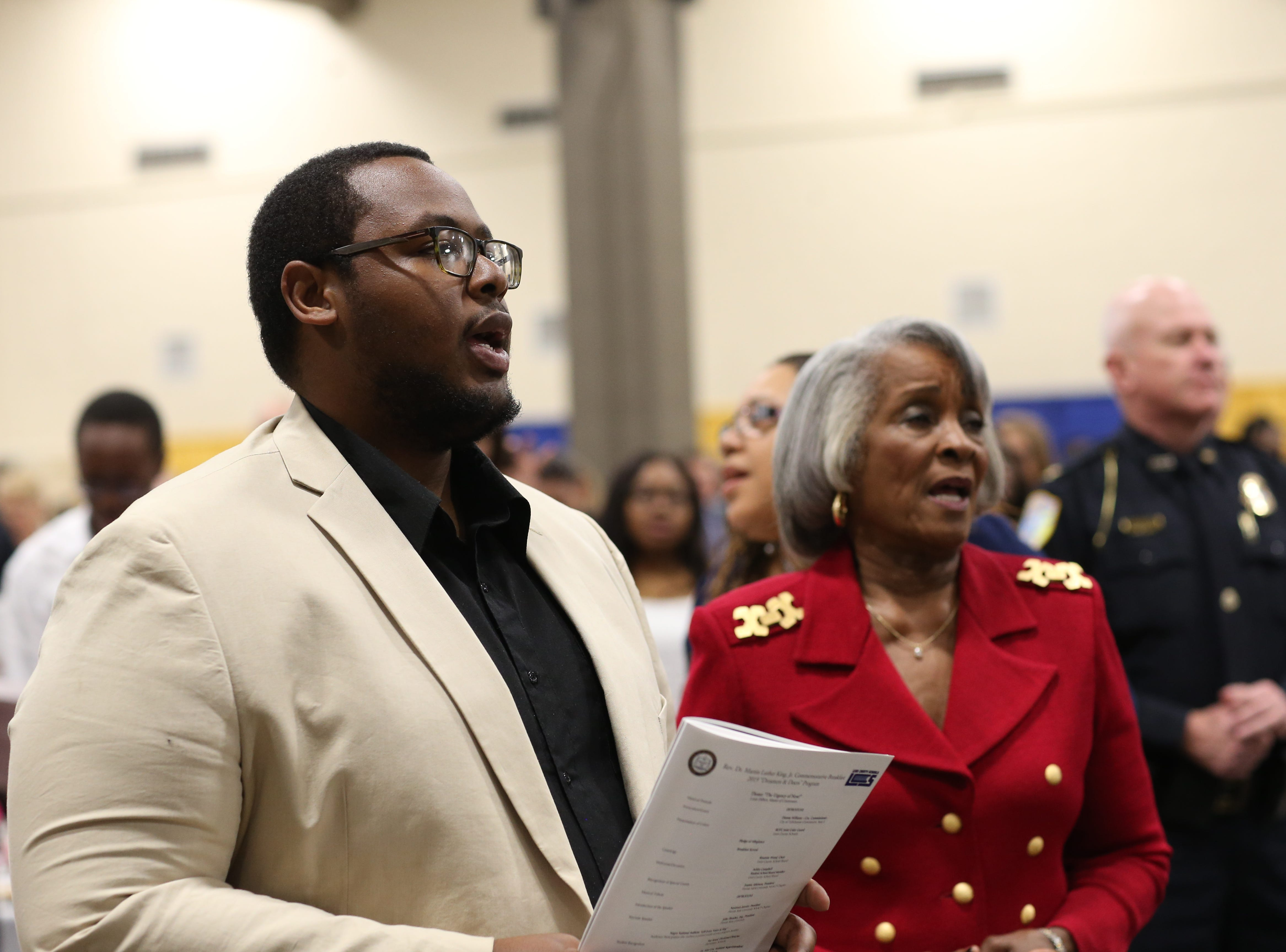 "Attendees join in singing the Negro National Anthem ""Lift Every Voice and Sing"" played during the Martin Luther King Jr. commemorative breakfast at Donald L. Tucker Civic Center Friday, Jan. 18, 2019."