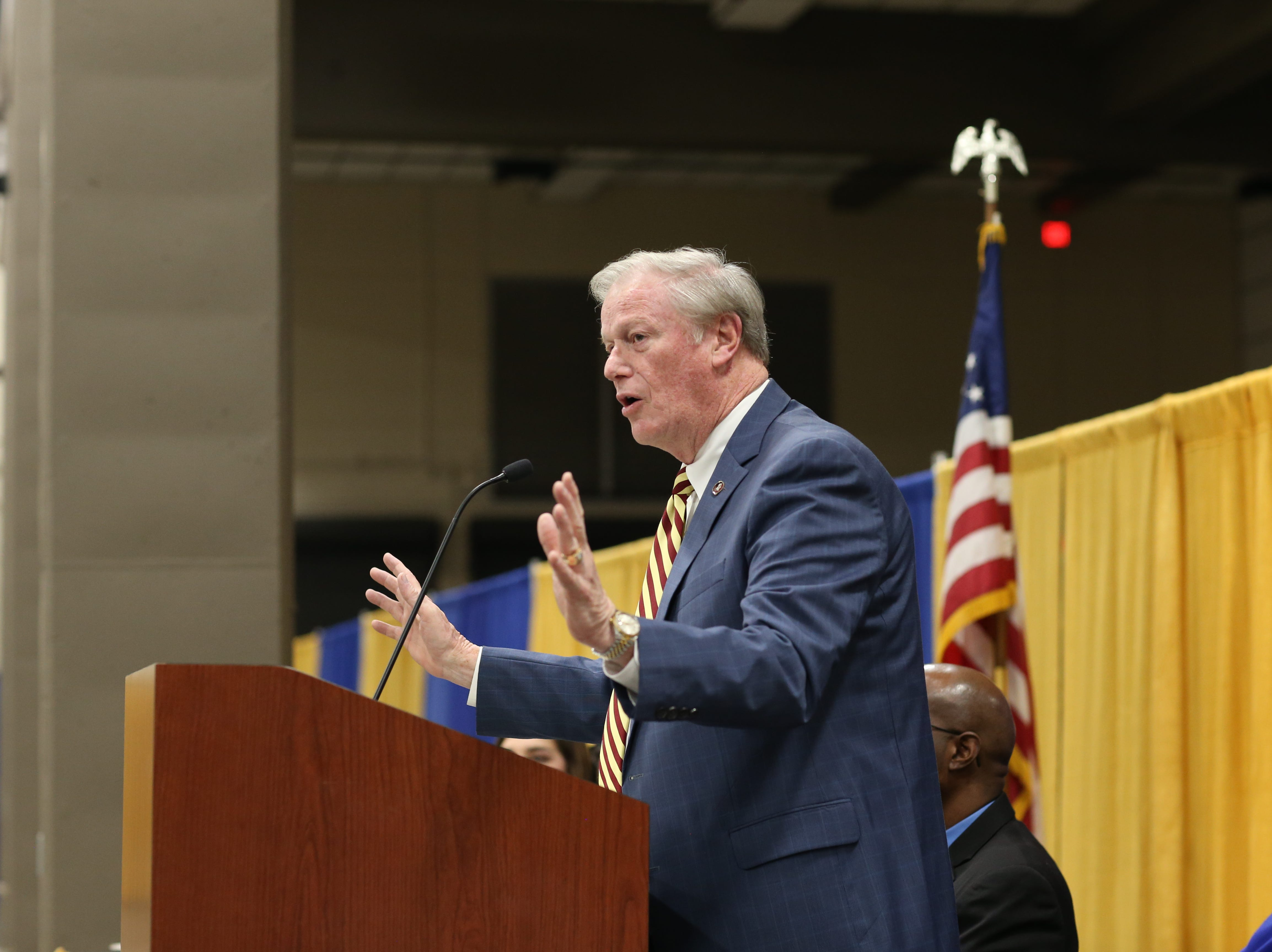 Florida State University President John Thrasher speaks about diversity at his university and the legacy of Martin Luther King Jr. during the Martin Luther King Jr. commemorative breakfast at Donald L. Tucker Civic Center Friday, Jan. 18, 2019.