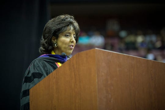 Judge Nina Ashenafi-Richardson speaks at the commencement for the Florida State University School's graduating class in 2017.at the Tucker Civic Center.