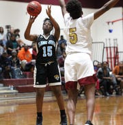 Gadsden County's Martasia Atkins drills one of five 3-pointers as Florida High beat Gadsden County 69-53 on Jan. 17, 2019.