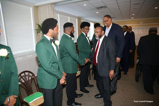US Representative Al Lawson joins the community in congratulating 19 seniors at 9th Annual Links Beautillion Green Coat Ceremony on  Jan. 13, 2019.