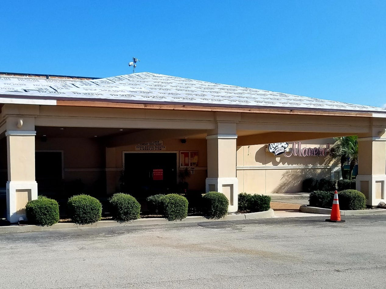 Manero's restaurant is located at 2851 S.W. High Meadow Road in Palm City