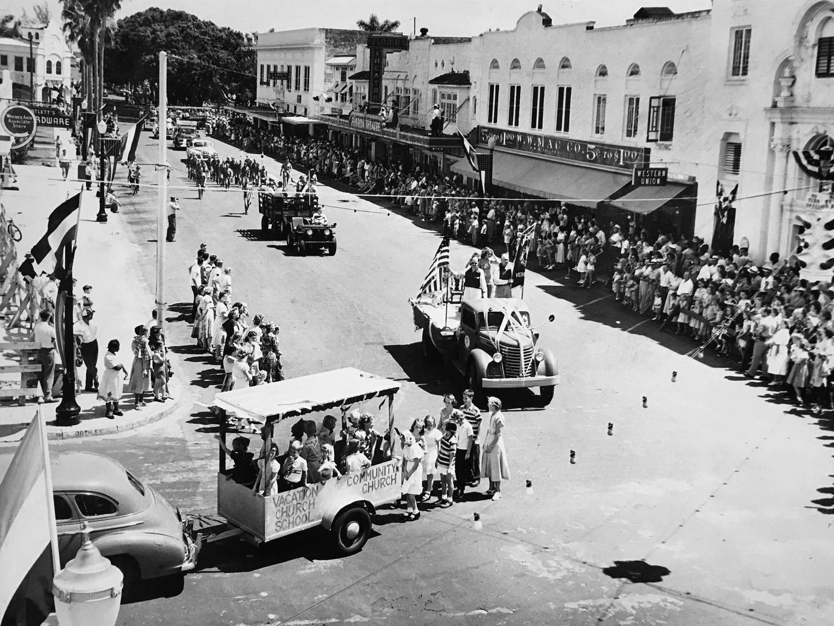 Parades were a popular pastime in Vero Beach. This one was headed north on 14th Avenue past the Florida Theatre where it then turned west on State Road 60.