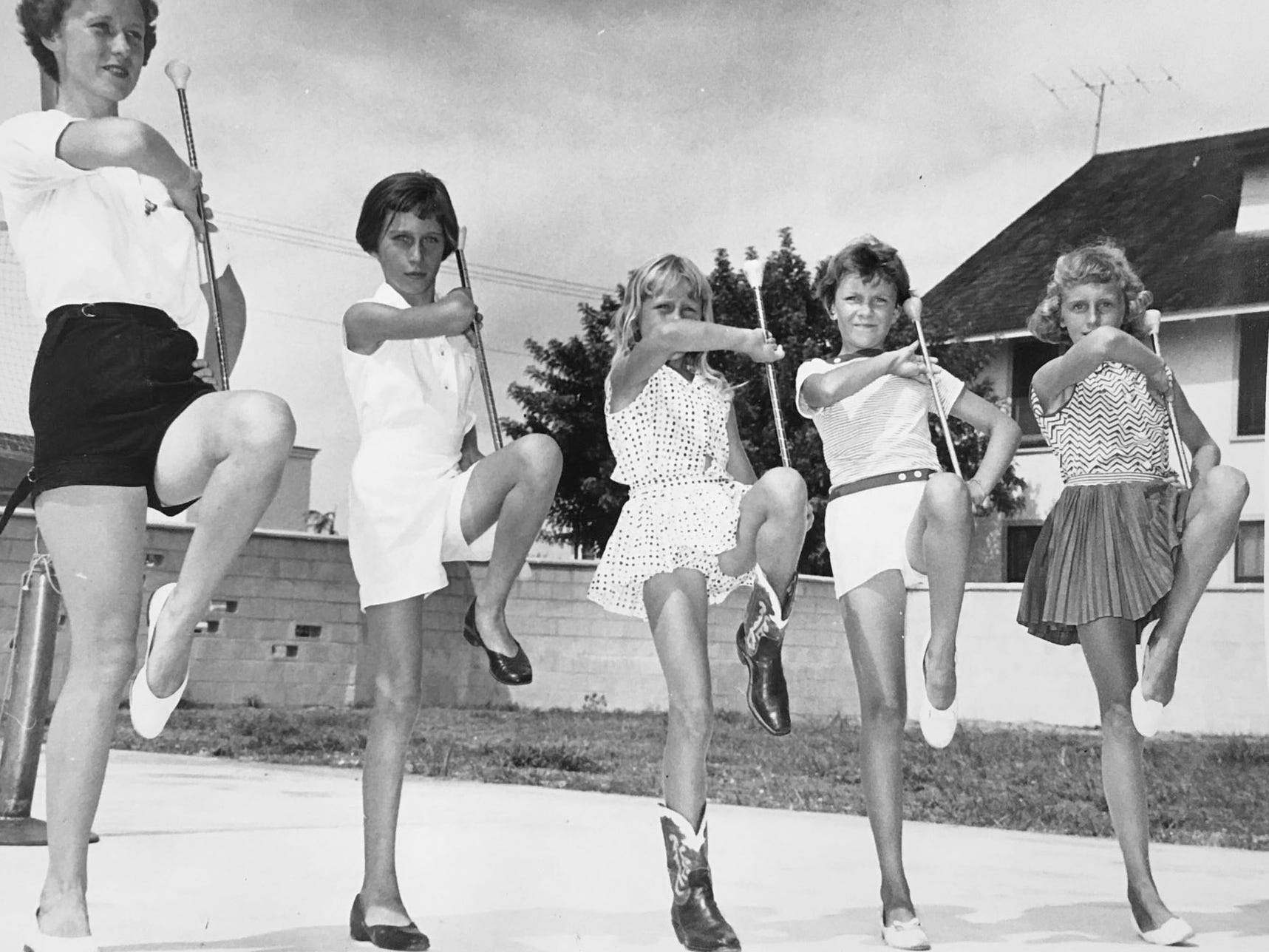 Baton twirling was popular as part of the summer recreation programs in Vero Beach, unknown year.