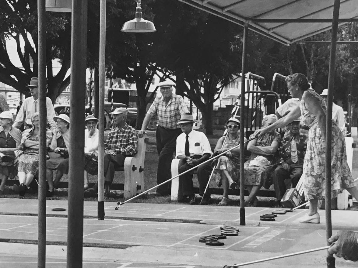Many a hard-fought tournament was played on these shuffleboard courts in Pocahontas Park in downtown Vero Beach. Note the the way the park trees in the background were flourishing when the photograph was taken in March 1969.