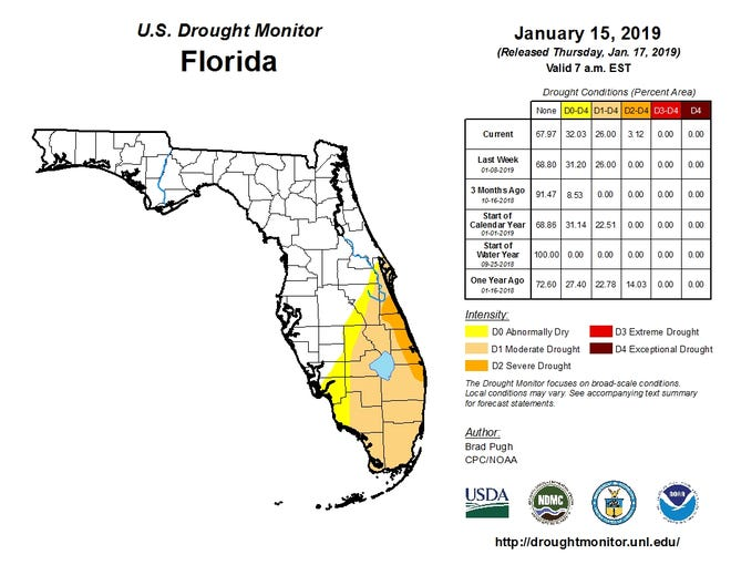 Parts of the Treasure and Space coasts are going through periods of severe drought.