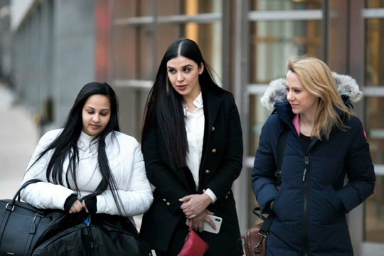 "Emma Coronel Aispuro, center, leaves Brooklyn federal court Thursday, Jan. 17, 2019, in New York after attending the trial of her husband, Joaquin ""El Chapo"" Guzman."