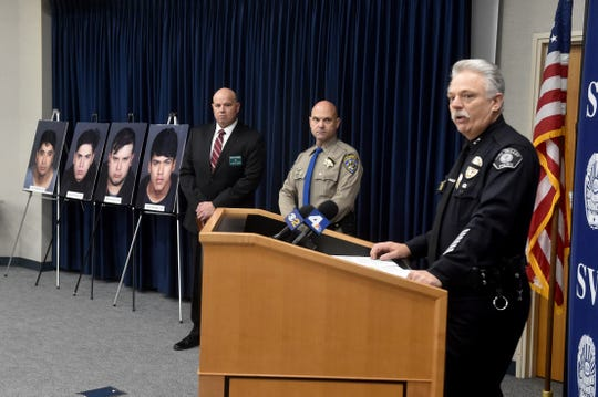 Deputy Chief Joseph May, of the Simi Valley Police Department, holds a press conference on Friday to announce the recent arrest of four men suspected in a burglary ring that targeted several cities across Southern California.