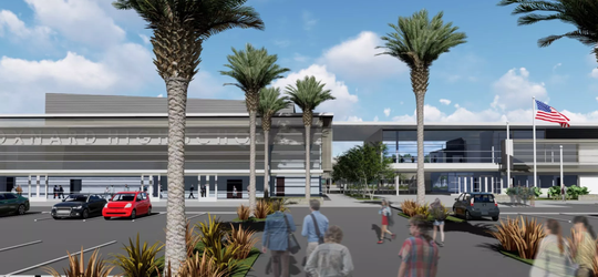 A rendering of a new high school slated for the Oxnard Union High School District.