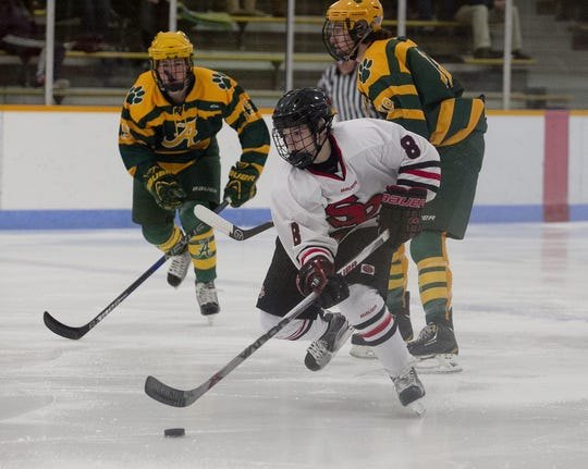 Cole Caufield totaled 151 points in 50 games during his freshman and sophomore seasons with the Stevens Point Area Senior High boys hockey team.