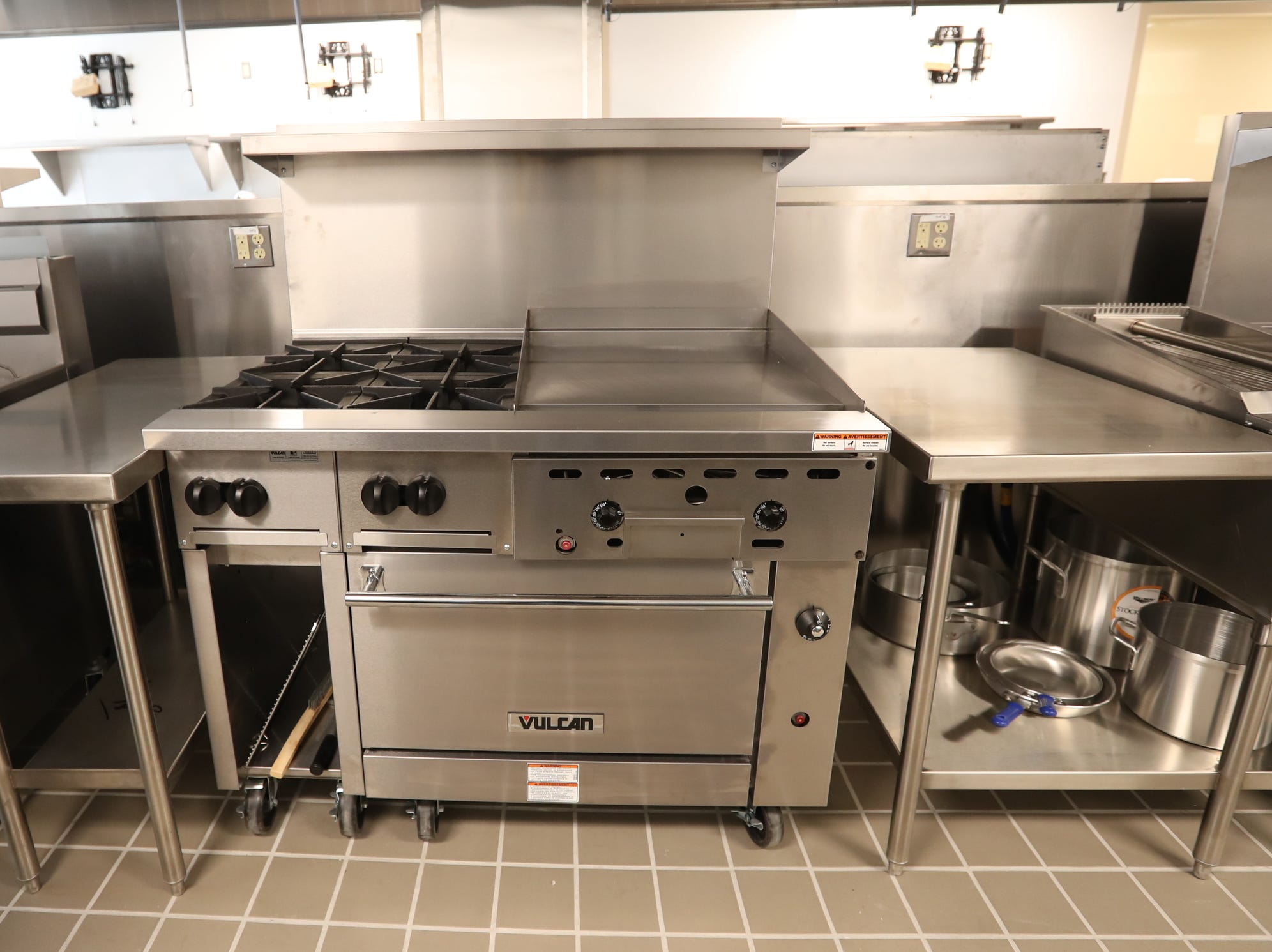 Professional tools await students in the classroom kitchen at Rockland Community College's Hospitality and Culinary Arts Center in Nyack on Thursday, January 17, 2019.