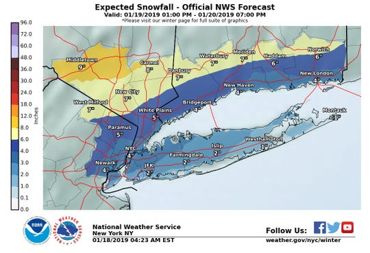 Snow is expected to blanket the Lower Hudson Valley on Saturday night.