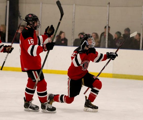 Sasha Vasyuta of Rye celebrates after scoring against Rye Country Day during a varsity hockey game at Rye Country Day School Jan. 18, 2019. Rye Country Day defeated Rye 6-3.