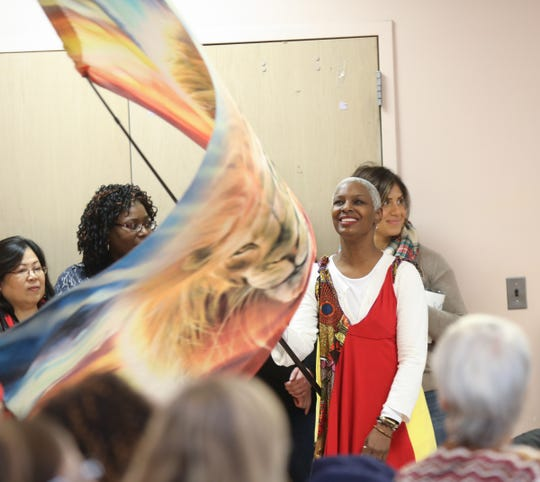 Tinah Bouldin performs her flag experience during a celebration for Martin Luther King Jr. at ARC of Rockland in Congers on Friday, January 18, 2019.