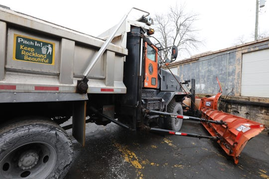 A truck is loaded with salt and ready to go at the Rockland County Highway Department garage in New City Jan. 18, 2019.