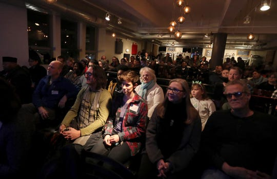 Peekskill residents listen to speakers at the Peekskill Community Congress Jan. 19, 2019. The gathering, which took place at the Peekskill Brewery, brought together Peekskill residents who were interested in helping to set priorities for the future of the city. At the gathering, eleven Peekskill residents were given three minutes each to explain what they thought the city should give priority to.