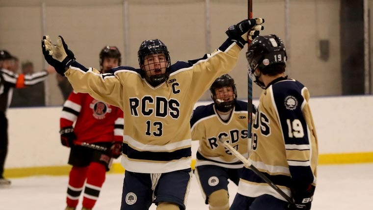 Josh Cohen of Rye Country Day celebrates after scoring his first goal against Rye during a varsity hockey game at Rye Country Day School Jan. 18, 2019. Rye Country Day defeated Rye 6-3.