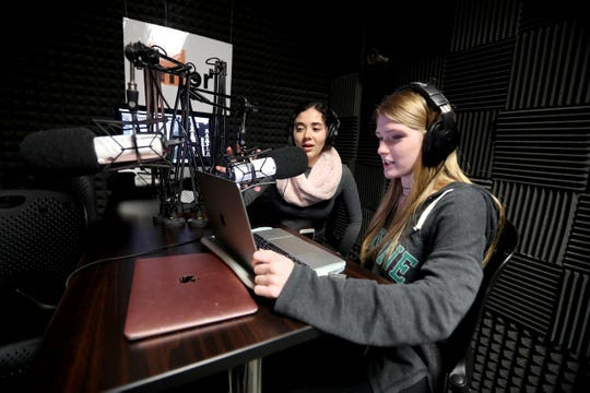 Mamaroneck High School seniors Rachel Leva and Kate Wise record their podcast in the school's podcast recording studio Jan. 18, 2019. Mamaroneck offers a class in creating podcasts for seniors. The students in Madin's class are working on podcast stories based on a trip they took to West Virginia during the mid-term election season.