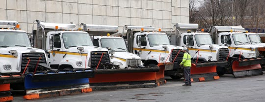 City of White Plains DPW workers get snowplows ready for this weekends snow/ice storm, at the DPW yard in white Plains Jan. 18, 2019.