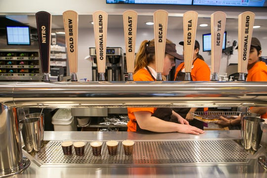 """The remodeled """"next generation"""" Dunkin' at 301 N Maryland Ave. in Wilmington will offer free coffee Saturday."""