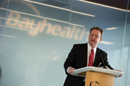 Terry Murphy, president and CEO of Bayhealth, gives his remarks during a media tour of the newly built Bayhealth Sussex Campus in Milford.