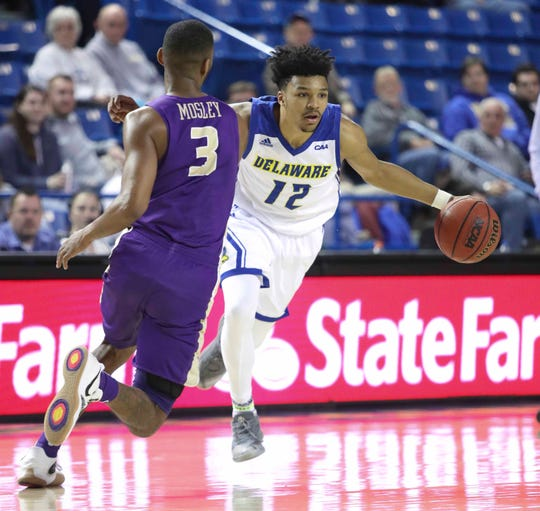 Delaware's Ithiel Horton dribbles against James Madison's Stuckey Mosley in the second half of the Blue Hens' 76-69 win at the Bob Carpenter Center.