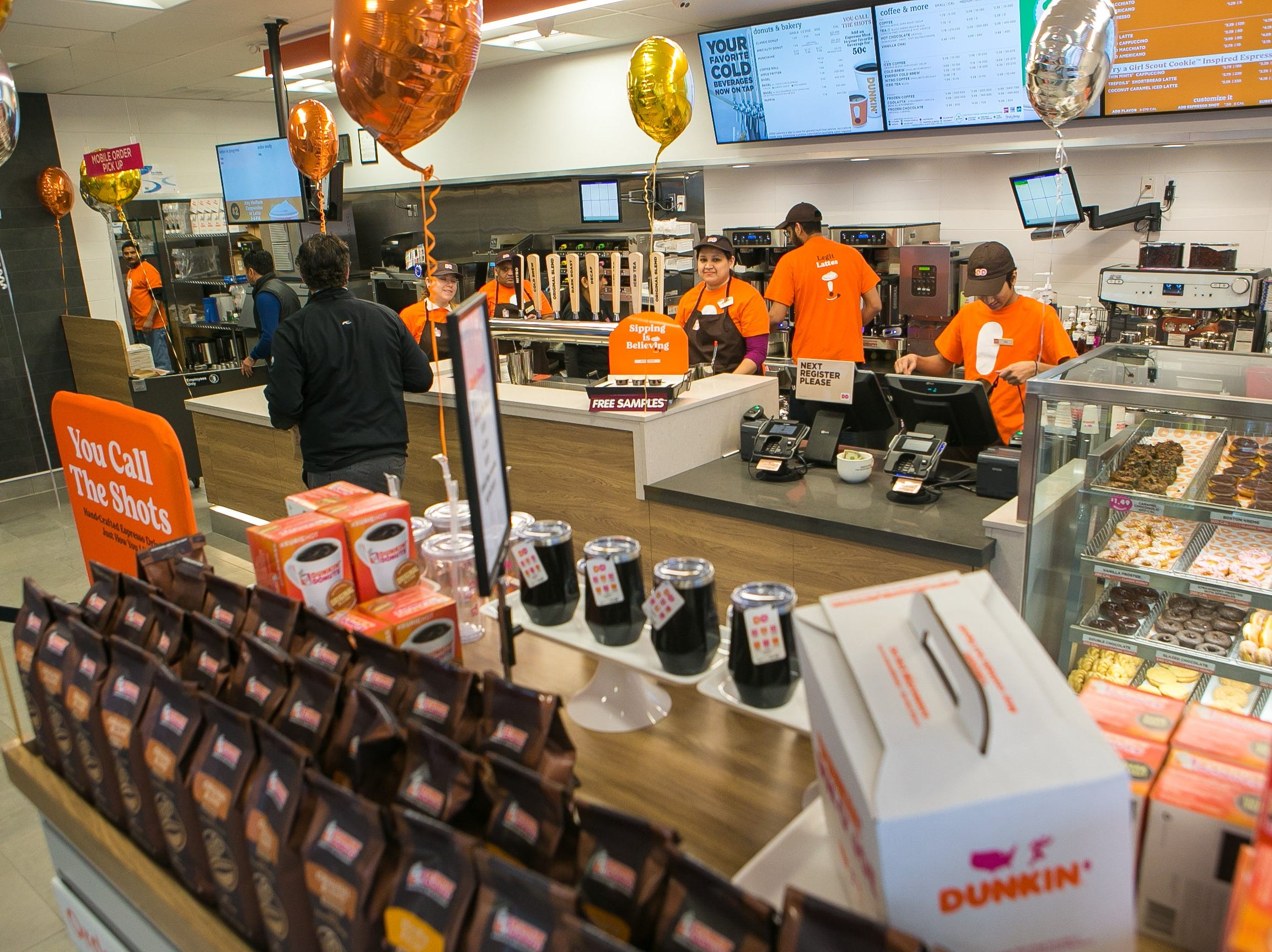 The Dunkin' chain, formerly known as Dunkin' Donuts, has opened one of its first new 'concept' stores today in north Wilmington on Naamans Road. The Delaware store is one of about 60 new and remodeled Dunkin' restaurants with new designs and the new Dunkin' brand name.