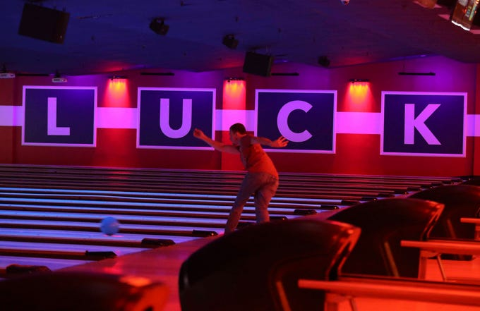 The reinvigorated Bowlero - formerly the AMF Price Lanes - features retro-surfer styling, video panels and blacklight lanes. The bowling alley takes on a cosmic look when the lights are turned down and video screens turned up.