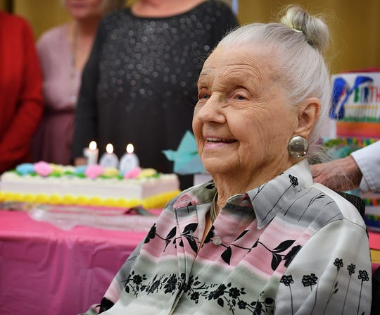 Ilma Lucille Craft smiles at well-wishers during a party for her 100th birthday Friday afternoon at Advanced Rehabilitation and Healthcare.