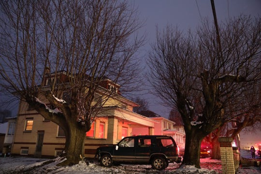 A car skidded off the road, landing in a front yard along Maysville Avenue on Thursday, Jan. 17.
