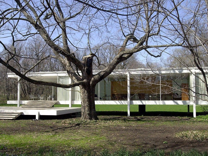 The Farnsworth house, designed by Mies van der Rohe, is located about 60 miles west of Chicago. The one-story structure was also the work of the late Ludwig Mies van der Rohe, one of the 20th century's great architects. The architects were influenced by the German Bauhaus style with a flat rooftop and modernist touches.