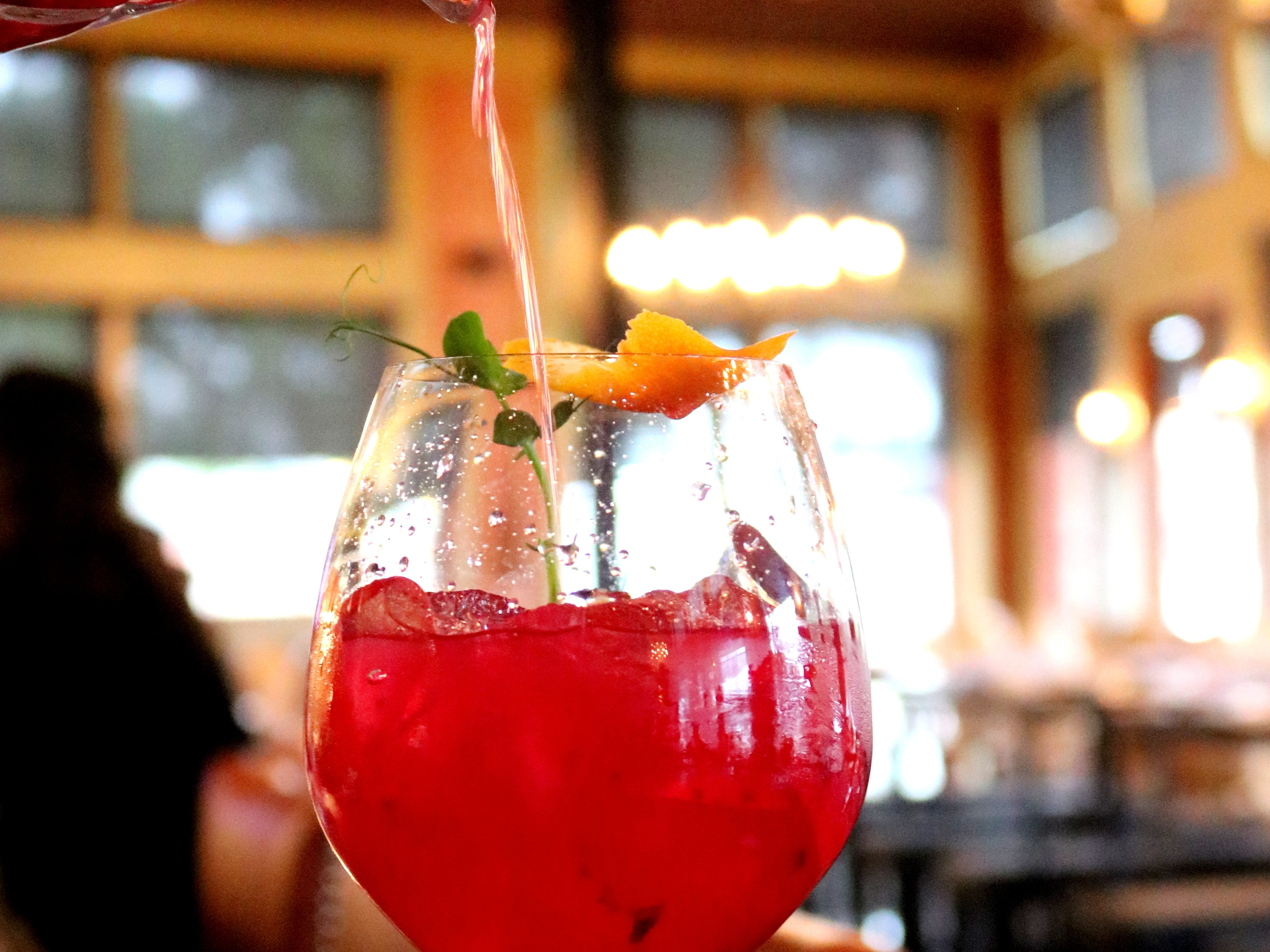 The Betabel Bellini at Hugo's in Houston. The ingredients are red beets, pink beets, blood orange, house-made honey-sage syrup and peach soda.