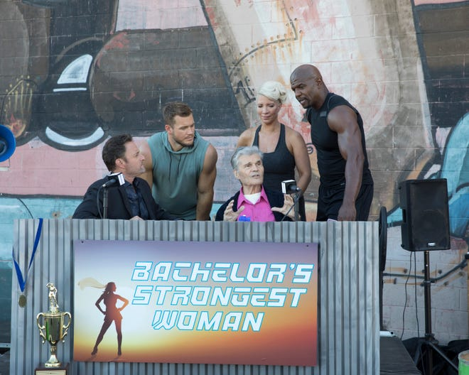 """The Bachelor"" star Colton Underwood and host Chris Harrison were joined by actor Fred Willard, Terry Crews and his wife Rebecca for an athletic group date for week three of the reality dating show."
